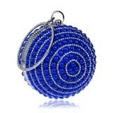 Ball Shape Women Fashion Banquet Party Pearl Handbag (Blue)