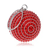 Ball Shape Women Fashion Banquet Party Pearl Handbag (Red)