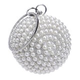 Ball Shape Women Fashion Banquet Party Pearl Handbag (Silver)