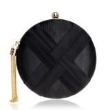 Women Fashion Banquet Party Silk Handbag (Black)