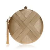Women Fashion Banquet Party Silk Handbag (Gold)