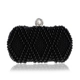 Women Fashion Banquet Party Pearl Handbag Single Shoulder Crossbody Bag (Black)