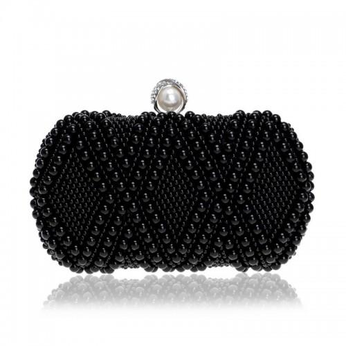 Women Fashion Banquet Party Pearl Handbag Single Shoulder Crossbody Bag (Black)