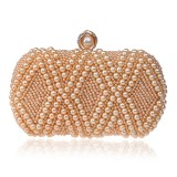 Women Fashion Banquet Party Pearl Handbag Single Shoulder Crossbody Bag (Champagne Gold)
