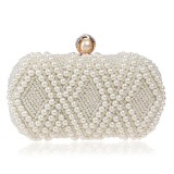 Women Fashion Banquet Party Pearl Handbag Single Shoulder Crossbody Bag (Beige)
