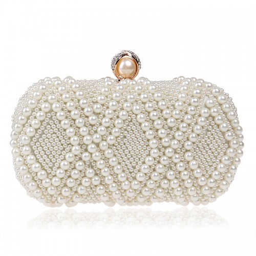 Women Fashion Banquet Party Pearl Handbag Single Shoulder Crossbody Bag (Beige)