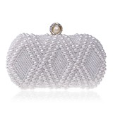 Women Fashion Banquet Party Pearl Handbag Single Shoulder Crossbody Bag (White)