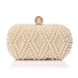 Women Fashion Banquet Party Pearl Handbag Single Shoulder Crossbody Bag (Yellow)