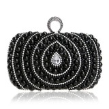 Women Fashion Banquet Party Pearl Handbag (Black)