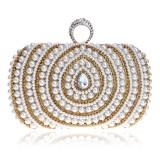 Women Fashion Banquet Party Pearl Handbag (Gold)