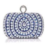 Women Fashion Banquet Party Pearl Handbag (Blue)