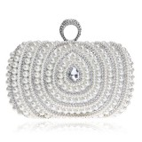 Women Fashion Banquet Party Pearl Handbag (Silver)