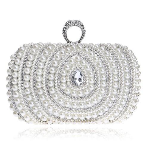 Women Fashion Banquet Party Pearl Handbag (Silver)