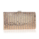 Women Fashion Banquet Party Diamond Square Handbag (Gold)