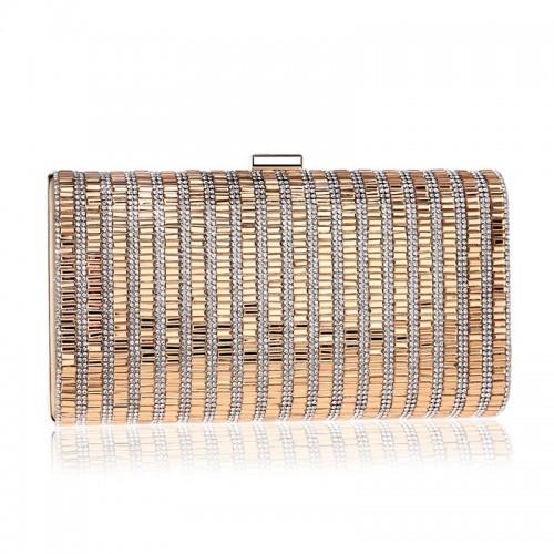 Women Fashion Banquet Party Diamond Square Handbag (Gold)