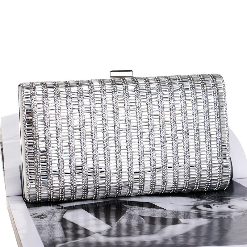 Women Fashion Banquet Party Diamond Square Handbag (Silver)