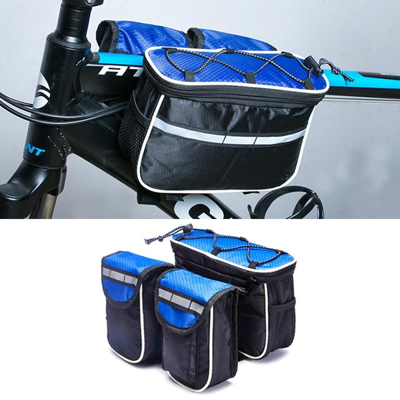 Bicycle Phone Bags Mountain Road Bike Front Head Bag Handlebar Bag (Blue)