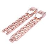 For Fitbit Alta HR Smart Watch Three Strains Stainless Steel Wrist Strap Watchband (Rose Gold)