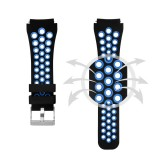 For Gear S3 Classic / Frontier Smart Watch Double Color Silicone Replacement Strap Watchband (Black Blue)