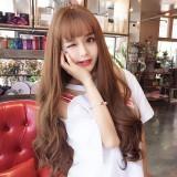 Air Bangs Fluffy Long Curly Hair Wig Rose Net Headgear for Women (Light Brown)