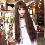 Air Bangs Fluffy Corn Blanching Water Ripple Long Curly Hair Wig Rose Net Headgear for Women (Dark Brown)
