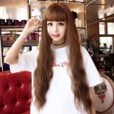 Air Bangs Fluffy Corn Blanching Water Ripple Long Curly Hair Wig Rose Net Headgear for Women (Light Brown)