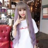 Air Bangs Fluffy Corn Blanching Water Ripple Long Curly Hair Wig Rose Net Headgear for Women (Green Wood Pick Purple)