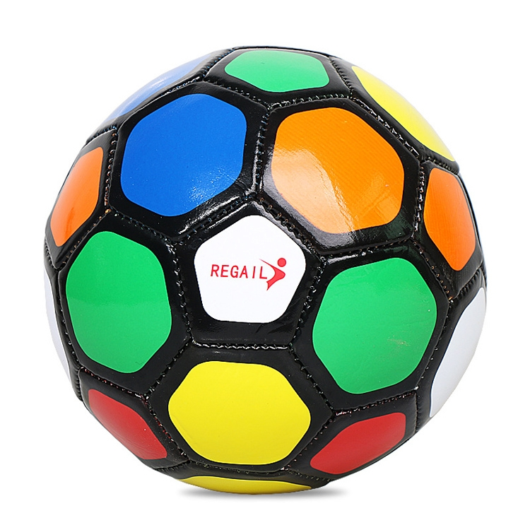 REGAIL No. 2 Intelligence PU Leather Wear-resistant Colorful Football for Children, with Inflator