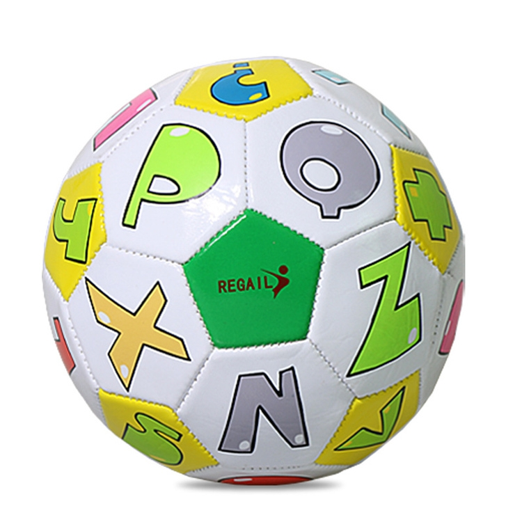 REGAIL No. 2 Intelligence PU Leather Wear-resistant Letter Football for Children, with Inflator