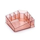 Desktop Makeup Box Transparent Lipstick Multi-function Desktop Cosmetics Shelf Storage Box (Red)