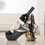 Blonde Shape Creative Red Wine Shelf Drain Rack Bottle Holder Ornament Resin Home Decoration (Purple)