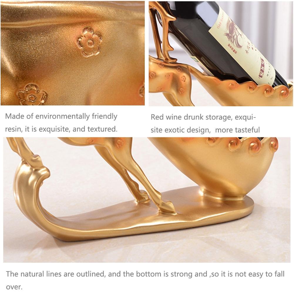 Creative Sika Deer Shape Wine Shelf Drain Rack Bottle Holder Living Room Ornaments Gift (Gold)