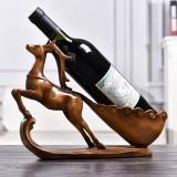Creative Sika Deer Shape Wine Shelf Drain Rack Bottle Holder Living Room Ornaments Gift (Wood)