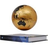 6 inch Bilingual Gold White Light Magnetic Levitation Globe + Book Shape Base Office Crafts Ornaments, US Plug