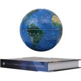 6 inch Bilingual Dark Blue White Light Magnetic Levitation Globe + Book Shape Base Office Crafts Ornaments, EU Plug