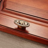 5 PCS 5008 Cabinet Zinc Alloy Retro Handle Coffee Cat Eye Handle (Coffee Ancient Silver)