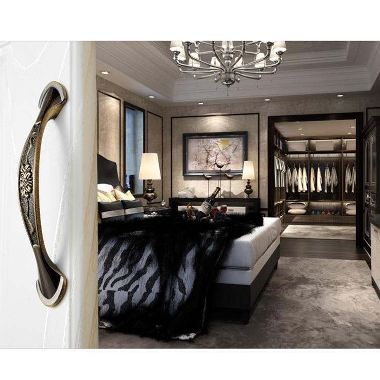 5 PCS 6026A-128 European Style Zinc Alloy Cabinet Wardrobe Drawer Door Handle, Hole Spacing: 128mm (Bronze)