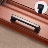 3 PCS 6609-96 Zinc Alloy Cabinet Wardrobe Drawer Door Handle, Hole Spacing: 96mm (Blackening Red Bronze)