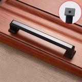 2 PCS 6609-128 Zinc Alloy Cabinet Wardrobe Drawer Door Handle, Hole Spacing: 128mm (Matte Black)
