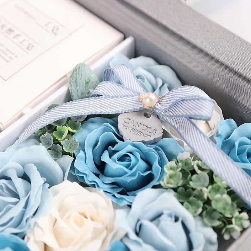 Creative Valentine Day Gift Soap Flower Rose Gift Box Souvenir (Blue)