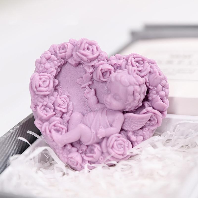 Creative Valentine Day Gift Soap Flower Rose Gift Box Souvenir (Purple)