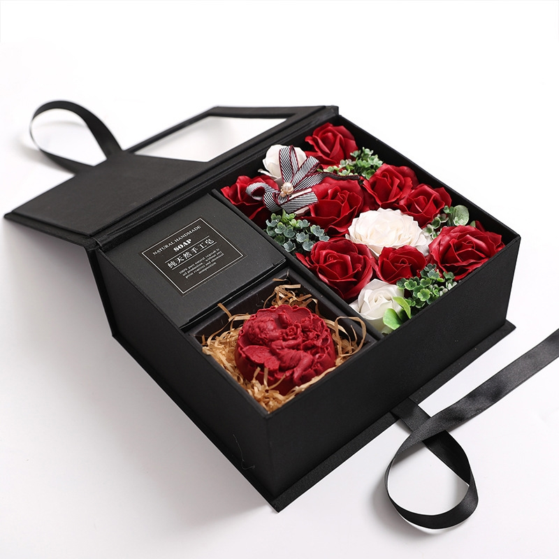 Creative Valentine Day Gift Soap Flower Rose Gift Box Souvenir (Red)