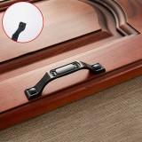 5 PCS 6201-96 Black Red Zinc Alloy Cabinet Wardrobe Drawer Door Handle, Hole Spacing: 96mm