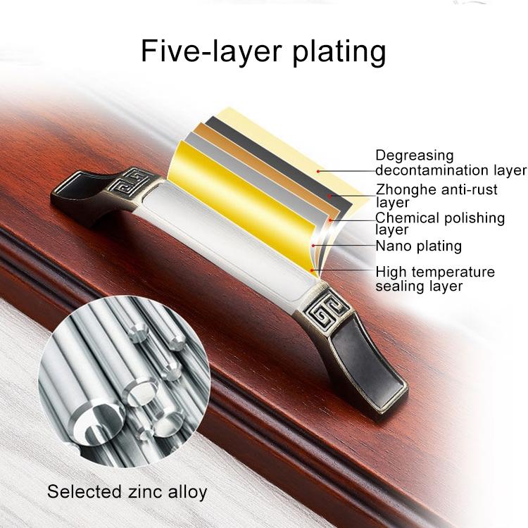 3 PCS 6202-96 Black Red Zinc Alloy Cabinet Wardrobe Drawer Door Handle, Hole Spacing: 96mm