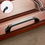 3 PCS 6202-128 Black Red Zinc Alloy Cabinet Wardrobe Drawer Door Handle, Hole Spacing: 128mm