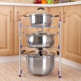 Multi-function Kitchen Pot Rack Three-layer Wok Soup Pot Stainless Steel Pot Rack
