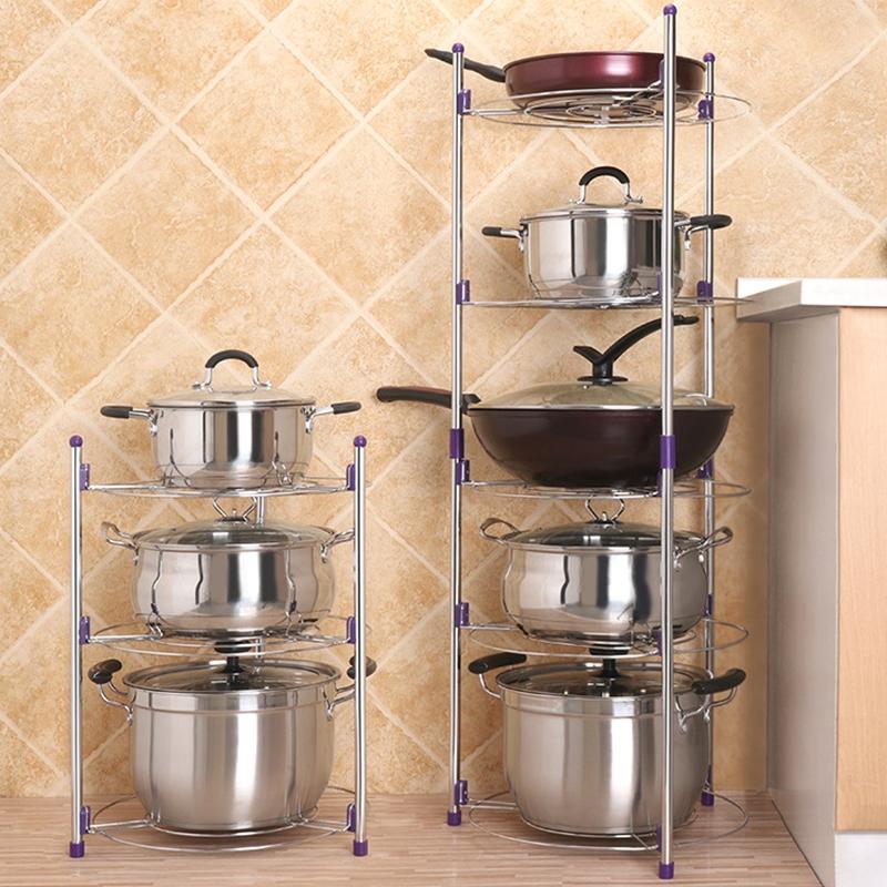 Multi-function Kitchen Pot Rack Three-layer Wok Soup Pot Stainless Steel Pot Rack
