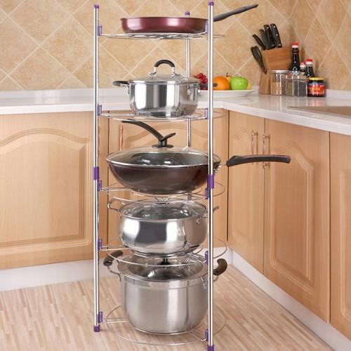 Multi-function Kitchen Pot Rack Five-layer Wok Soup Pot Stainless Steel Pot Rack