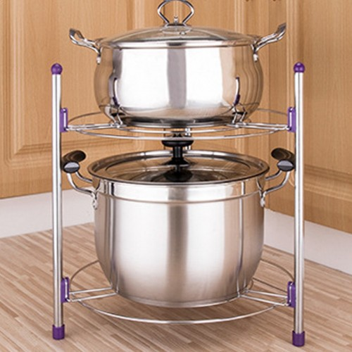 Multi-function Kitchen Pot Rack Double-layer Wok Soup Pot Stainless Steel Pot Rack