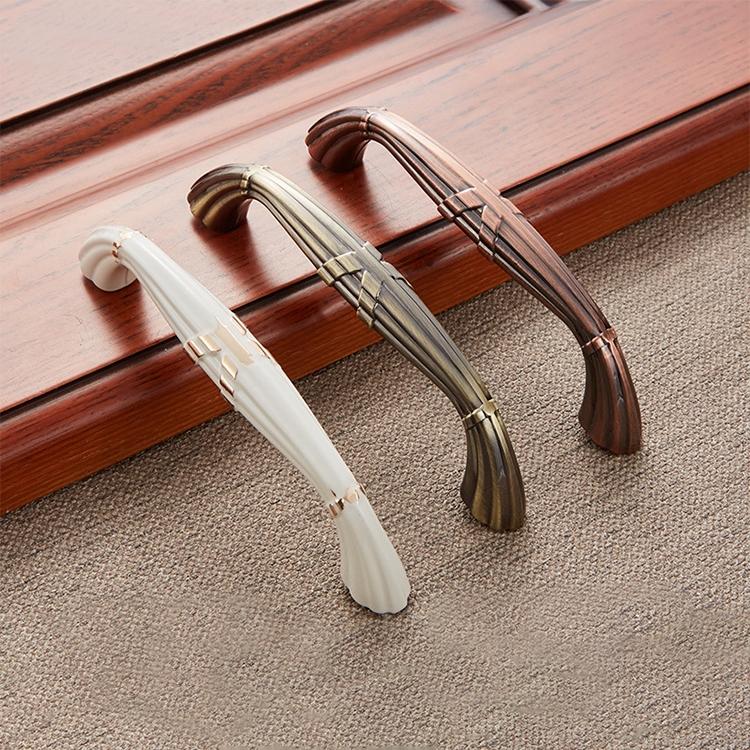 3 PCS 6046-128 Drawer Cabinet Door European Style Classical Bronze Handle (Cyan)